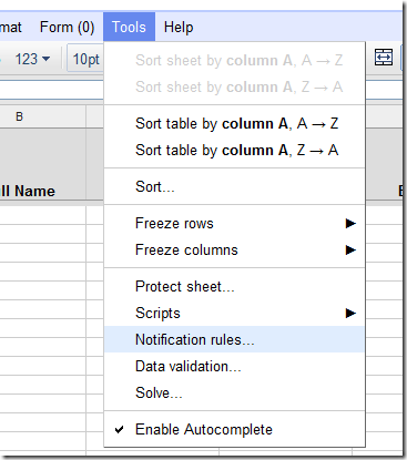 Launching notification rules on a Google Spreadsheet